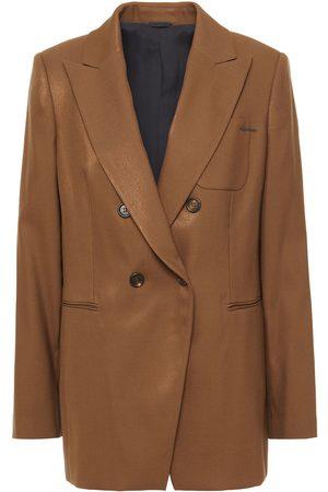 Brunello Cucinelli Women Blazers - Woman Double-breasted Metallic Wool-blend Twill Blazer Size 42