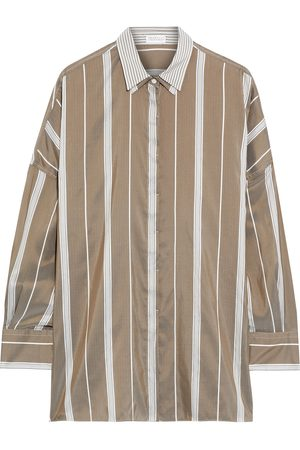 Brunello Cucinelli Women Long sleeves - Woman Layered Striped Silk Shirt Taupe Size M