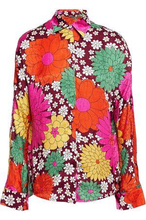 DODO BAR OR Woman Noemie Floral-print Silk-jacquard Shirt Burgundy Size 42