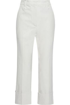 Brunello Cucinelli Women Stretch Pants - Woman Cropped Stretch-cotton Twill Straight-leg Pants Off- Size 42