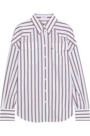 Brunello Cucinelli Woman Bead-embellished Striped Cotton-poplin Shirt Size M