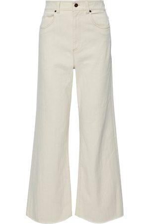 Brunello Cucinelli Woman Frayed High-rise Wide-leg Jeans Ecru Size 42