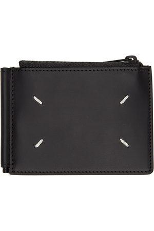Maison Margiela Men Wallets - Black Leather Zip Bifold Wallet