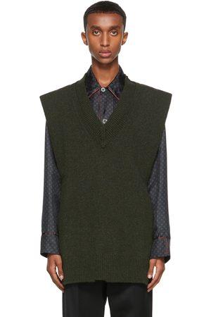 Maison Margiela Men Tank Tops - Green Wool Vest