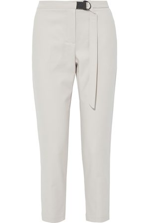 Brunello Cucinelli Women Skinny Pants - Woman Bead-embellished Belted Cotton-blend Twill Slim-leg Pants Size 44