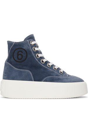 MM6 MAISON MARGIELA Women Platform Sneakers - Blue Suede Platform High Sneakers