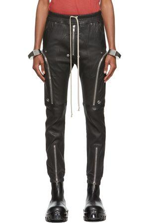 Rick Owens Men Leather Pants - Black Leather Bauhaus Pants