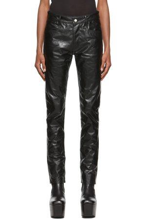 Rick Owens Men Leather Pants - Black Leather Tyrone Pants