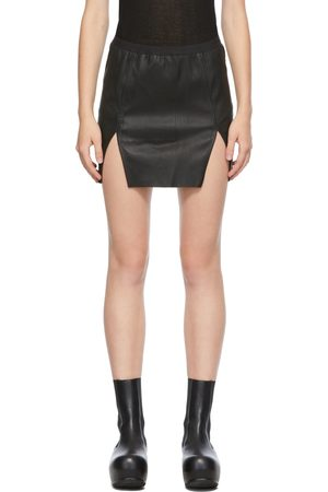Rick Owens Black Lambskin Sacrimini Miniskirt