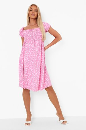 Boohoo Womens Maternity Shirred Bardot Printed Mini Dress - - 4