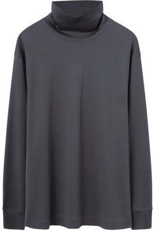 LEMAIRE Roll-neck Cotton-jersey Long-sleeve Top - Mens - Dark Grey