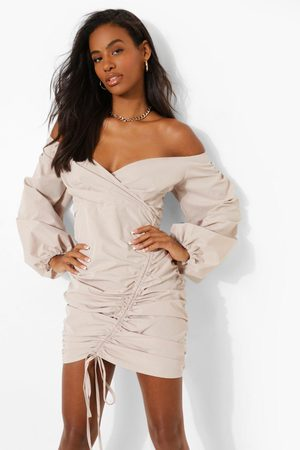 Boohoo Womens Bardot Ruched Wrap Mini Dress - - 2