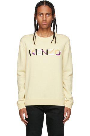 Kenzo Men Sweatshirts - Yellow Embroidered Logo Sweater