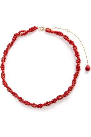 YVONNE LÉON Coral & 18kt Gold Beaded Necklace - Womens