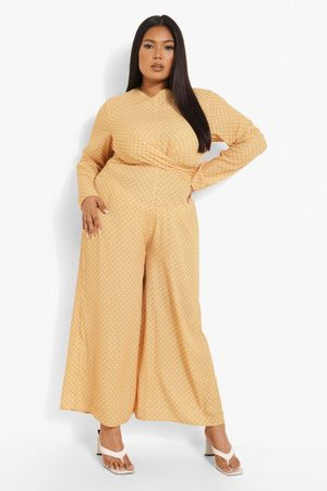 Boohoo Womens Plus Polka Knot Front Culotte Jumpsuit - - 12