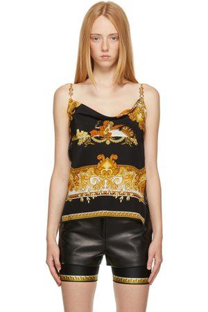 VERSACE Women Camisoles - Black & Gold Medusa Renaissance Silk Camisole