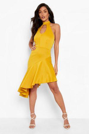 Boohoo Women Halterneck Dresses - Womens Scuba Halterneck Keyhole Frill Midi Dress - - 4