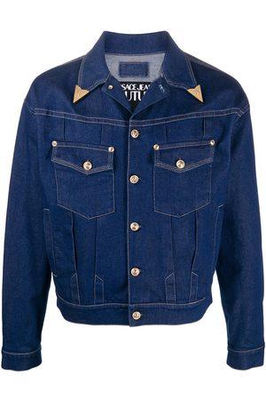 VERSACE Metal-tip collar denim jacket