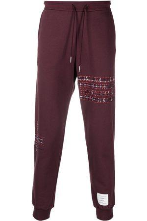 Thom Browne Men Sweatpants - RWB embroidered stripe track pants