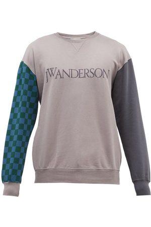 J.W.Anderson Men Sports Hoodies - Logo-embroidered Cotton-jersey Sweatshirt - Mens - Grey