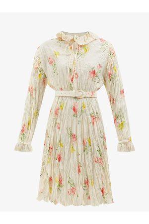 Balenciaga Women Printed Dresses - Floral-print Crinkled-silk Midi Dress - Womens - Multi