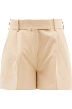 Khaite Maarte High-rise Cotton Wide-leg Shorts - Womens