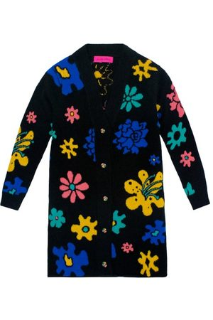 THE ELDER STATESMAN Sound Flowers-intarsia Cashmere Cardigan - Womens - Multi