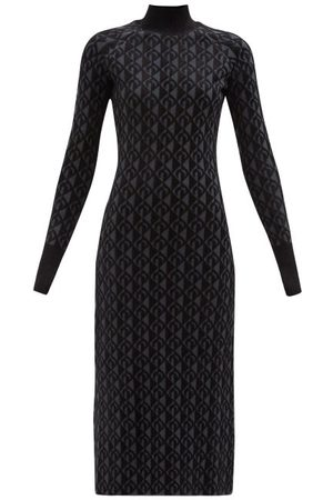 Marine Serre Women Casual Dresses - Moon Lozenge-intarsia High-neck Sweater Dress - Womens