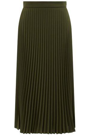 MM6 MAISON MARGIELA High-waisted Pleated Crepe Midi Skirt - Womens - Khaki