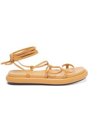 Khaite Women Platform Sandals - Alba Leather Wraparound Platform Sandals - Womens - Tan