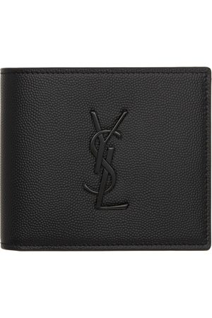 Saint Laurent Men Wallets - Black Grained Monogram East/West Wallet