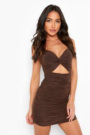 Boohoo Womens Double Slinky Twist Cut Out Mini Dress - - 4