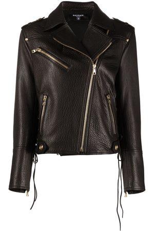 Balmain Polished-finish leather jacket