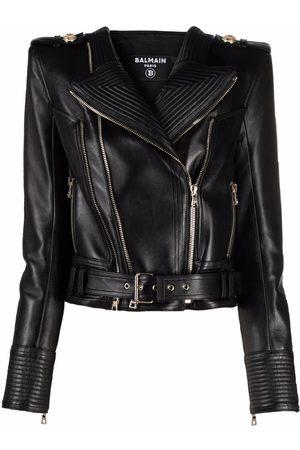 Balmain Women Leather Jackets - Wide-shoulder biker jacket
