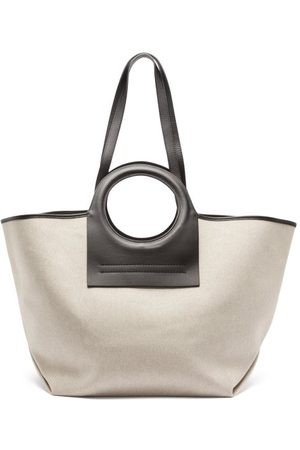 Hereu Cala Leather And Canvas Shoulder Bag - Womens - Multi