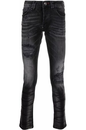 Philipp Plein Men Skinny - Super Straight stonewash distressed jeans - Grey