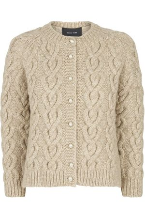 Simone Rocha Faux-pearl Button Cable-knit Cardigan - Womens