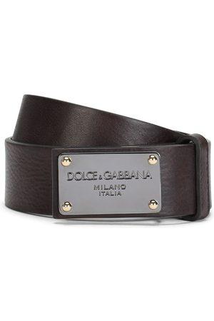 Dolce & Gabbana Men Belts - Logo plaque leather belt
