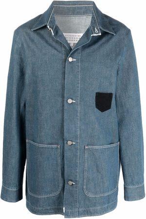 Maison Margiela Men Denim Jackets - Stitched denim shirt jacket