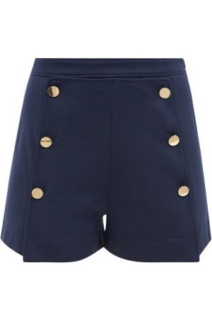 See by Chloé Women Shorts - Buttoned High-rise Jersey Shorts - Womens - Navy
