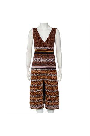 M Missoni Patterned Lurex Knit Plunge Neck Sleeveless Midi Dress S