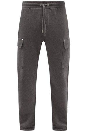 Frame Men Sweatpants - Flap-pocket Cotton-blend Jersey Track Pants - Mens - Dark Grey