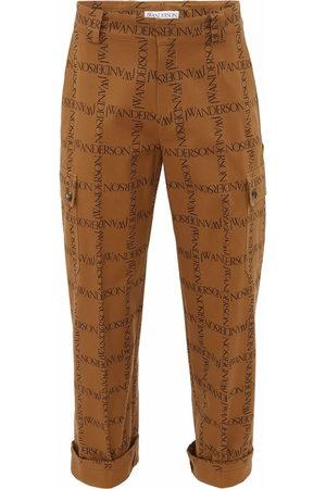 J.W.Anderson Men Straight Leg Pants - Logo-print straight leg trousers