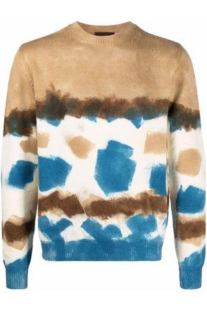 Alanui Men Sweatshirts - Tie-dye wool jumper - Neutrals