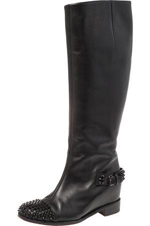 Christian Louboutin Leather Spike Cap Toe Egoutina Knee Boots Size 37
