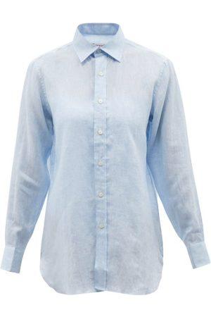 Charvet Point-collar Linen Shirt - Womens - Light