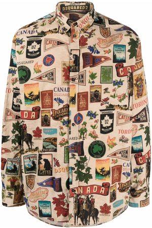 Dsquared2 Motif-print long-sleeved shirt - Neutrals