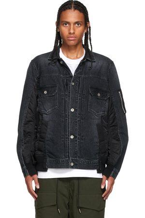 SACAI Men Denim Jackets - Black Denim MA-1 Jacket