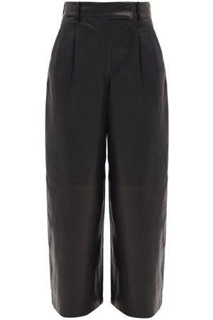 Khaite Maarte High-rise Leather Wide-leg Trousers - Womens