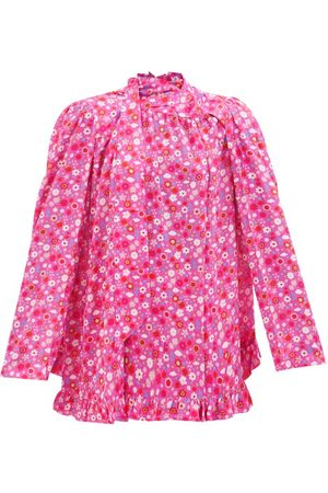 Balenciaga Floral-print Pussybow-tie Crepe Blouse - Womens